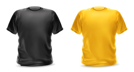 Black and yellow t-shirt, vector isolated object
