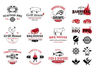 Barbecue, Seafood Logos, Labels and Design Elements