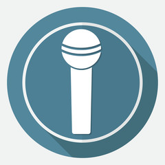 microphone icon on white circle with a long shadow