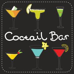 Set of alcoholic cocktails art stylized