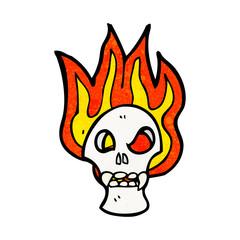 flaming skull cartoon