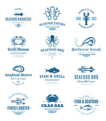 Seafood Barbecue Logos, Labels and Design Elements