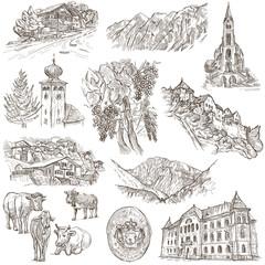 Travel - Liechtenstein. Full sized hand drawings on white.