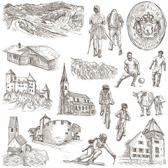 Travel - Liechtenstein. Full sized hand drawings on white.