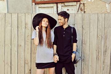 Attractive couple in love outdoor