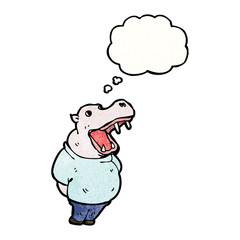 cartoon hippo with thought bubble