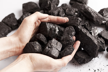Two white hands holding lumps of black coal