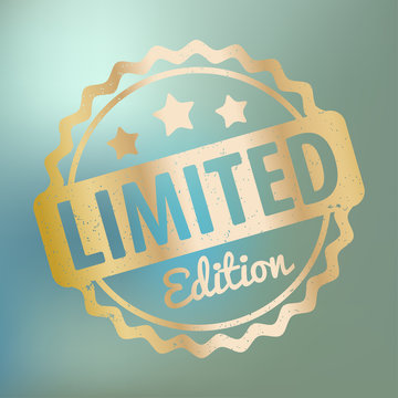 Limited Edition rubber stamp award vector gold on a blue bokeh background.
