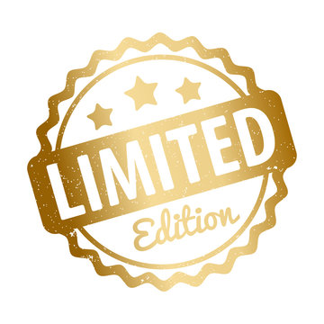 Limited Edition rubber stamp award vector gold on a white background.