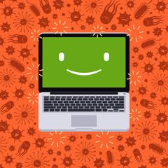 Laptop under the virus attack