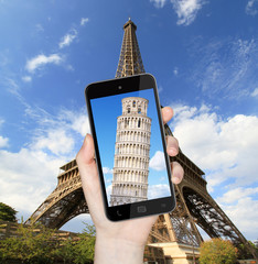 Eiffel Tower and Pise Tower