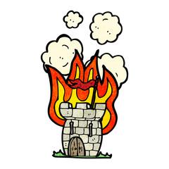 cartoon castle on fire