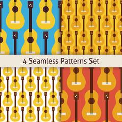 Four Vector Flat Seamless String Music Instrument Guitar Pattern