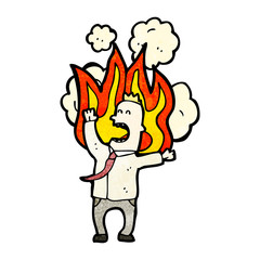cartoon man on fire