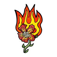 cartoon flaming flower
