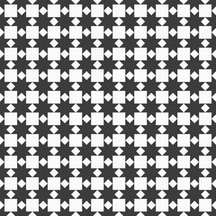 Black and white seamless pattern with stylized stars