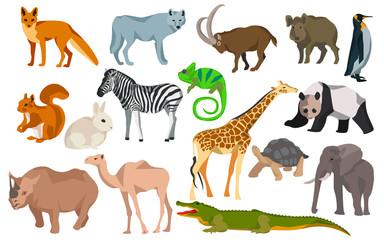 Big set different animals goat, wild boar, panda, rabbit, zebra