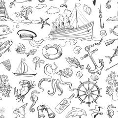 Nautical or marine themed seamless pattern
