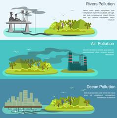 Vector landscape with air, ocean pollution.