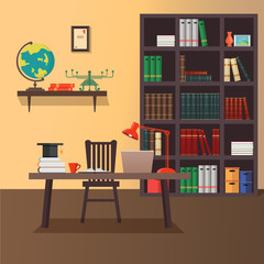 Vector illustration of modern home office workspace
