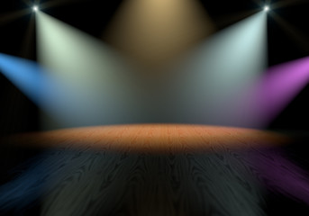 Colorful spotlights on stage