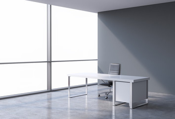 A workplace in a modern corner panoramic office, copy space on windows. A concept of financial consulting services. 3D rendering.
