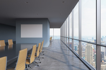 Panoramic conference room in modern office in New York City. Brown chairs and a black table. 3D rendering.