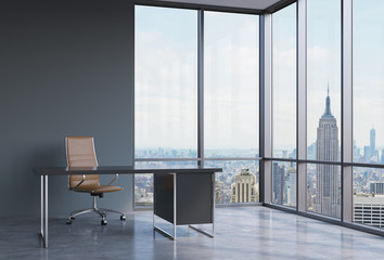 A workplace in a modern corner panoramic office in New York, Manhattan. A brown leather chair and a black table. A concept of financial consulting services. 3D rendering.