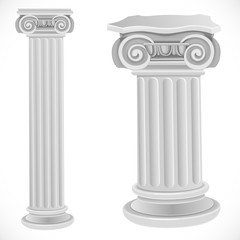 Classical greek or roman ionic white column isolated on white ba