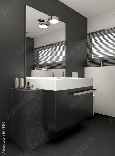 Modernes bad mit steinblock und granitfliesen photo - Bad granitfliesen ...