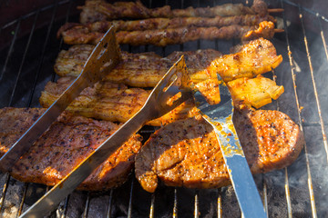 Fresh marinated barbecue meat