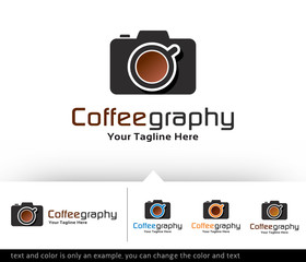 Coffee Photography Logo Design Template Vector