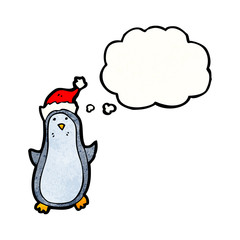 funny penguin with thought bubble