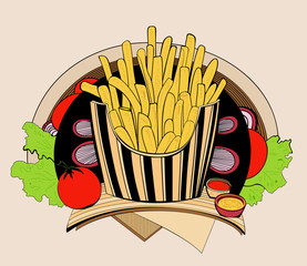 Illustration of fried fries.