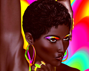 Beautiful Black Woman with colorful make up and a wavy Summer fun background. Large colorful hoop earrings and matching eyeshadow complete this beauty and fashion look.