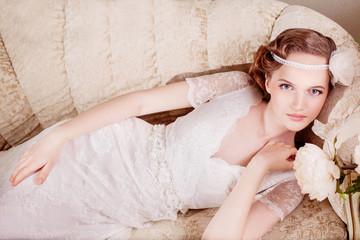 Beautiful Vintage Bride. Wedding. Just Married
