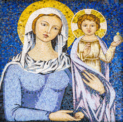 Religious mosaic of Virgin Mary holding Jesus Christ