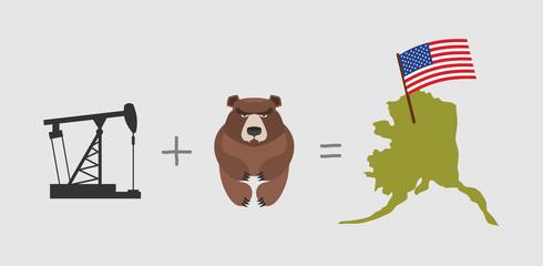 Oil rig and  bear. Symbols of Alaska. American flag. Vector illu