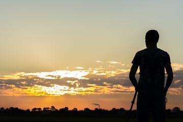 Silhouette from a cameramen during sunrise.