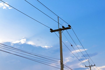 electric pole power lines and wires