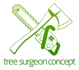 Tree Surgeon Axe and Cainsaw Concept