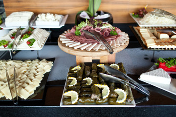 Meats and cheese buffet on hotel breakfast