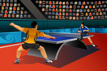 Men Playing Table Tennis in the Competition