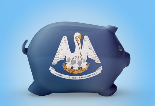 Piggy bank with the flag of Louisiana .(series)