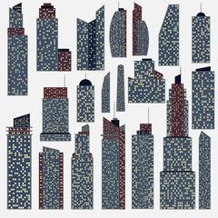 Set of detailed skyscraper