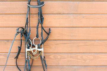 Horse bridle with decoration hanging on stable wooden wall. Clos