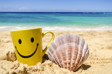Wall Mural - Happy face mug on the beach with seashell
