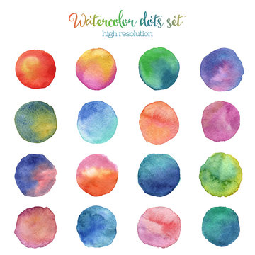 Watercolor colored random dots set