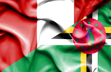 Waving flag of Dominica and Peru