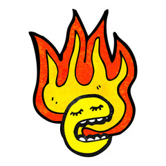 flaming emoticon face cartoon